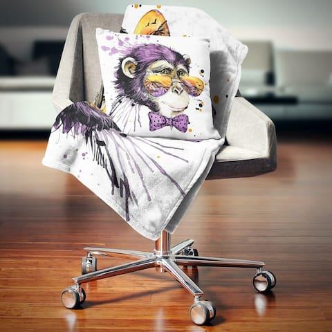 Designart 'Cool Monkey' Animal Throw Blanket