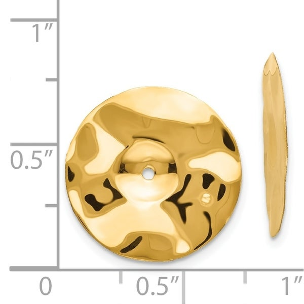 14k Yellow Gold Polished Hammered Disc Earring Jackets