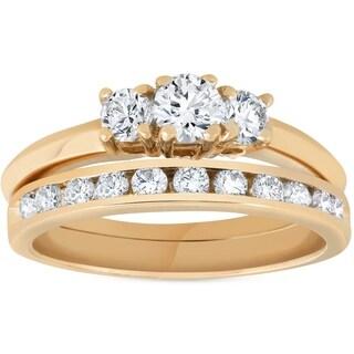 Bliss 14k Yellow gold 1 ct TDW Three Stone Diamond Engagement Channel Wedding Ring Set - White