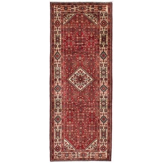 eCarpetGallery Hand-knotted Hosseinabad Red Wool Rug - 3'7 x 10'0