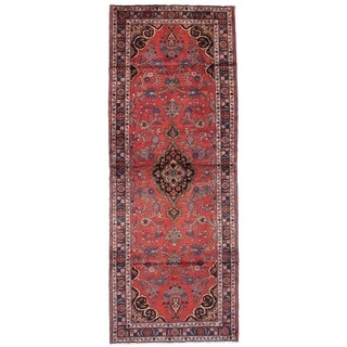 eCarpetGallery Hand-knotted Hamadan Red Wool Rug - 3'9 x 9'11
