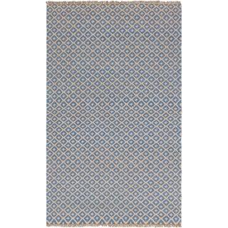 eCarpetGallery Flat-weave Izmir Kilim Blue, Light Orange Wool Kilim - 4'11 x 8'0