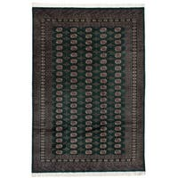 eCarpetGallery Hand-knotted Finest Peshawar Bokhara Dark Green Wool Rug - 6'4 x 9'2