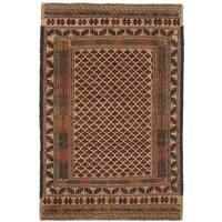 eCarpetGallery Flat-weave Shiravan Sumak Dark Red, Ivory Wool Sumak - 3'9 x 5'11