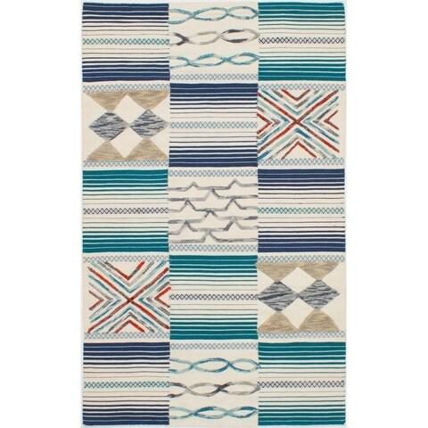 eCarpetGallery Flat-weave ELMAS Cream, Teal Wool Kilim