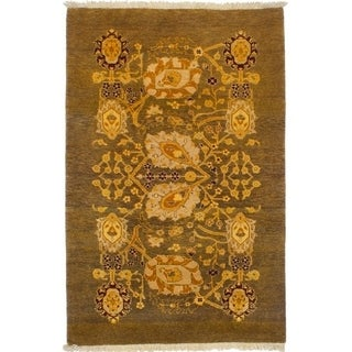 eCarpetGallery Hand-knotted Peshawar Finest Brown Wool Rug - 3'1 x 4'10