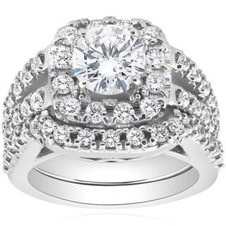Bliss 14k White Gold 2 3/8ct TDW Cushion Halo Diamond Engagement Ring Matching Guard Wedding Band Set Clarity Enhanced