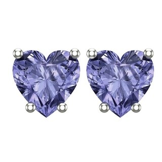 Belinda Jewelz 10K White Gold 5mm Heart Stud Earrings in Multiple Colors / CZs