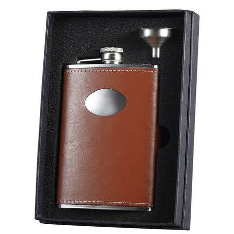 Visol Hound Brown Leather Flask Gift Set - 8 ounces