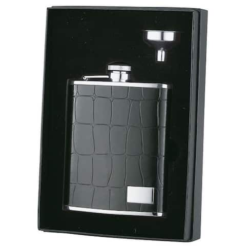 Visol Beau Monde Alligator Pattern Leather Essential Liquor Flask Gift Set - 6 ounces