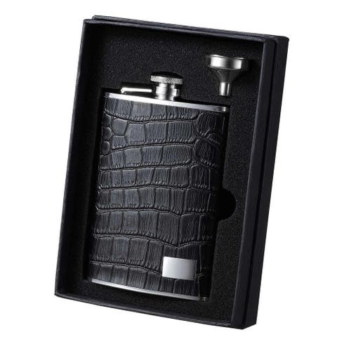 Visol Beau Monde Black Leather Essential II Liquor Flask Gift Set - 8 ounces