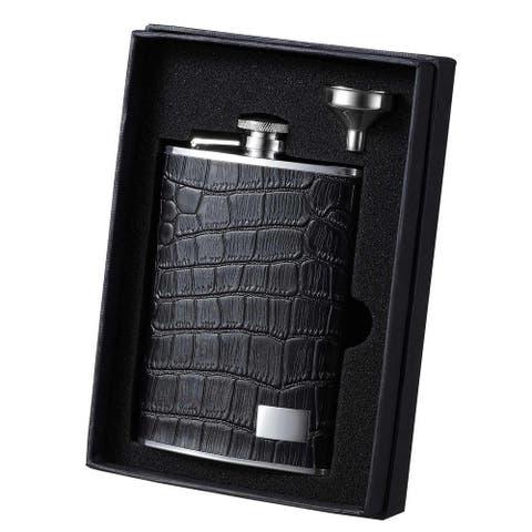 Visol Beau Monde Black Leather Essential II Liquor Flask Gift Set - 8 ounces