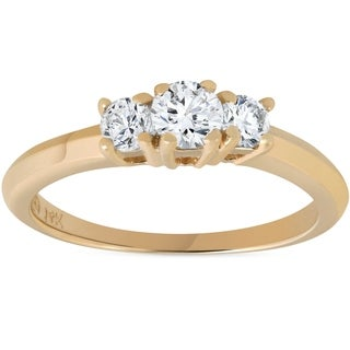 Bliss 14K Yellow Gold 1/2 ct TDW Three Stone Diamond Engagement Ring - White (More options available)