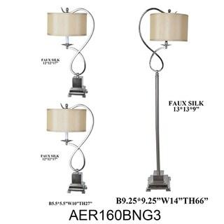 Brushed Nickel 3-piece Steel Lamp Set