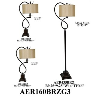 Bronze 3-piece Steel Lamp Set