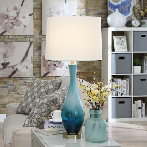 "Jasmin Blue Glass 31-inch Table Lamp - 31""H x 15""Rnd"