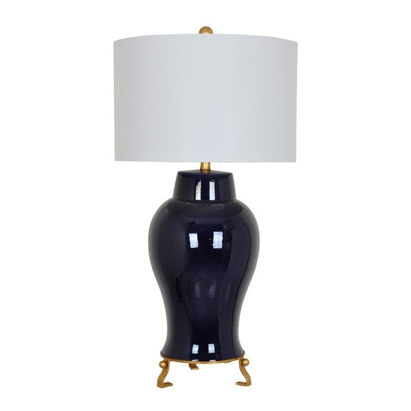 Anne Navy Porcelain and Gilt Metal 35-inch Table Lamp