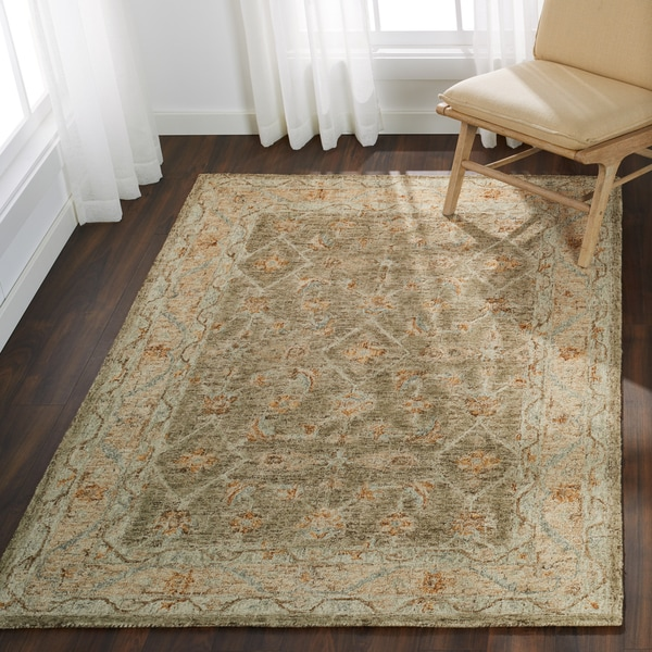 """Hand-hooked Traditional Taupe/ Beige Mosaic Wool Rug - 3'6"""" x 5'6"""""""