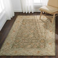 Hand-hooked Traditional Taupe/ Beige Mosaic Wool Rug - 9'3 x 13'