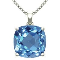 14K White Gold Square Shape 18″ Singapore Necklace in 10mm Cushion Cut Swiss Blue Topaz / Amethyst / Red Garnet