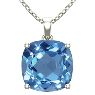 14K White Gold Square Shape 18 Singapore Necklace in 10mm Cushion Cut Swiss Blue Topaz / Amethyst / Red Garnet