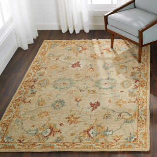 Hand-hooked Traditional Ivory/ Rust Mosaic Wool Rug - 3'6 x 5'6'
