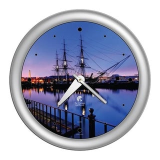 Chicago Lighthouse, Boston - USS Constitution, 14 inch decorative wall clock