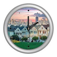 Chicago Lighthouse, San Francisco - Painted Ladies 14 inch wall clock