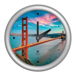 Chicago Lighthouse, San Francisco - Golden Gate Bridge 14 inch wall clock