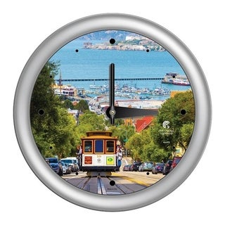 Chicago Lighthouse, San Francisco - Cable Car 14 inch wall clock