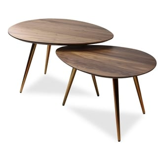 Mid Century Modern Coffee Table Set   Nesting Tables   2 Piece Set