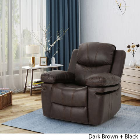 Evelyna Classic Leather Gliding Recliner Club Chair by Christopher Knight Home