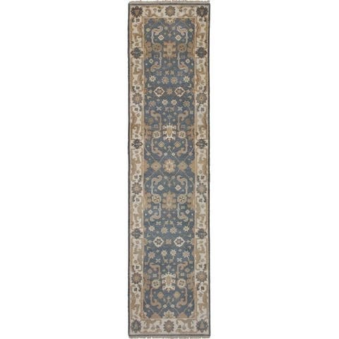 eCarpetGallery Hand-knotted Royal Ushak Dark Grey Wool Rug - 2'6 x 10'5