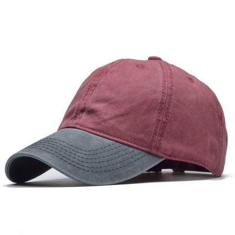6ea59bb39b0d4 Vintage Washed Denim Two Tone Adjustable Baseball Cap