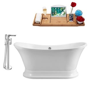 """Tub, Faucet and Tray Set Streamline 68"""" Freestanding NH201CH-120"""
