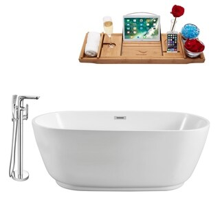"""Tub, Faucet and Tray Set Streamline 71"""" Freestanding NH562-120"""