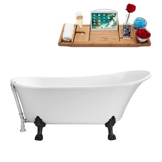 "59"" Streamline N341BL-CH Soaking Clawfoot Tub and Tray With External Drain"