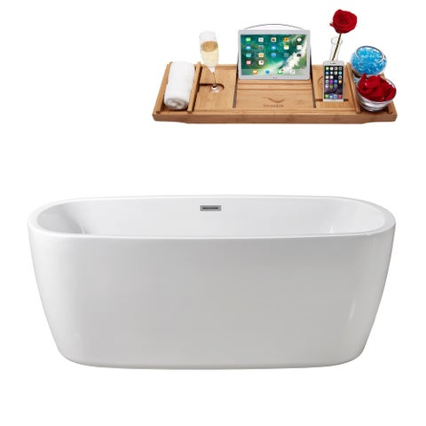 "67"" Streamline N-781-67FSWH-FM Soaking Freestanding Tub and Tray With Internal Drain"