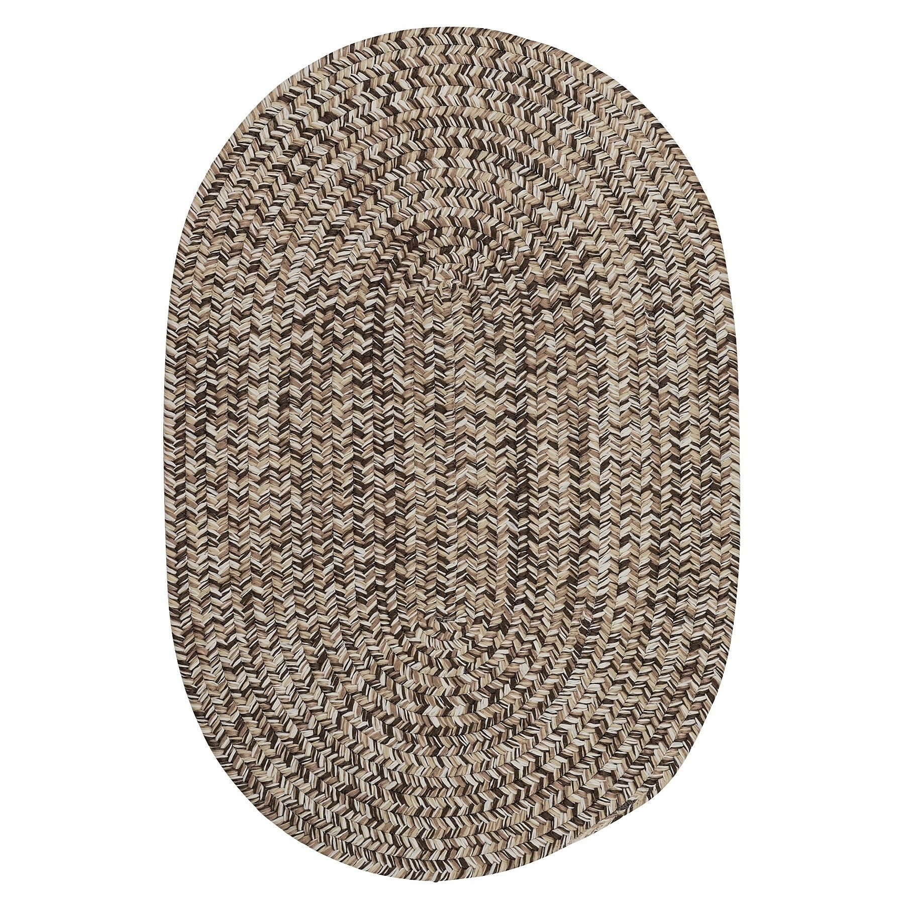 Farmstand Rustic Braided Tweed Oval Area Rug