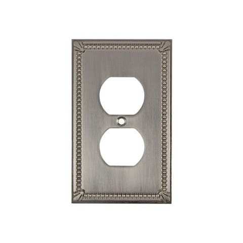 Rok Wall Plate Traditional Decorative Double Outlet Brushed Nickel