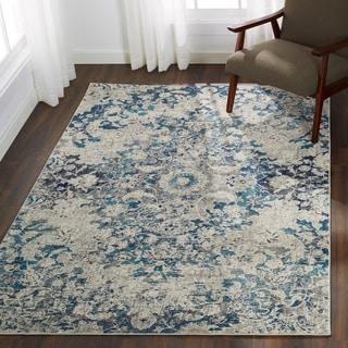 "Bohemian Blue/ Grey Vintage Distressed Floral Rug - 5'3"" x 7'7"""
