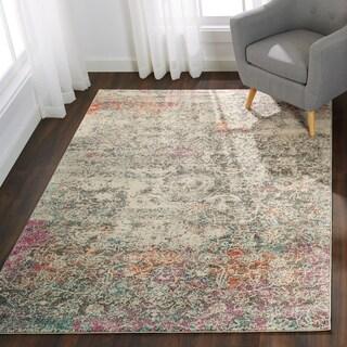 """Bohemian Grey/ Multi Vintage Distressed Floral Rug - 5'3"""" x 7'7"""""""