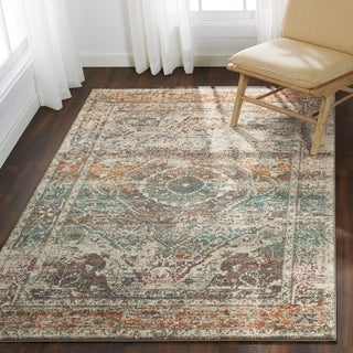 "Bohemian Stone Grey Vintage Distressed Medallion Rug - 5'3"" x 7'7"""