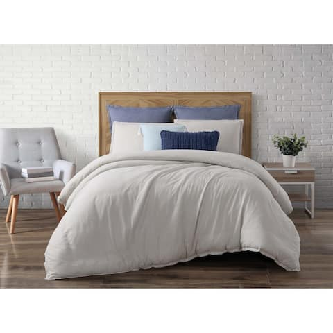Brooklyn Loom Chambray Cotton Loft 3 Piece Duvet Cover Set