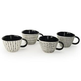 Signature Housewares Set of 4 Mugs, Sketch Print Design