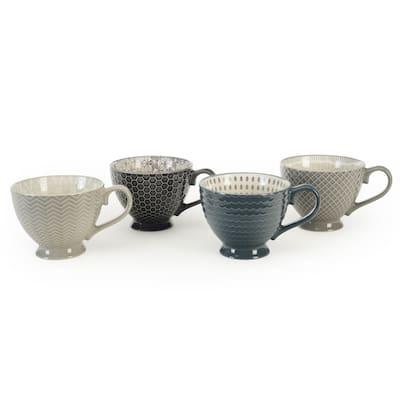 Signature Housewares Set of 4 Footed Mugs, Pad Print Design Gray