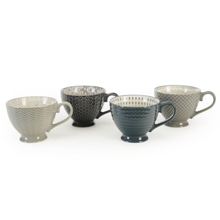 Signature Housewares Set of 4 Footed Mugs, Pad Print Design Gray