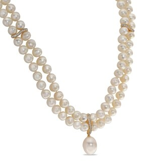 "PearLustre by Imperial 18"" 14K Gold over Sterling Silver FWP and Wht Topaz Necklace"