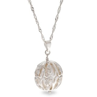 """PearLustre by Imperial 18"""" Sterling Silver 14-15mm Caged Freshwater Pearl Pendant"""