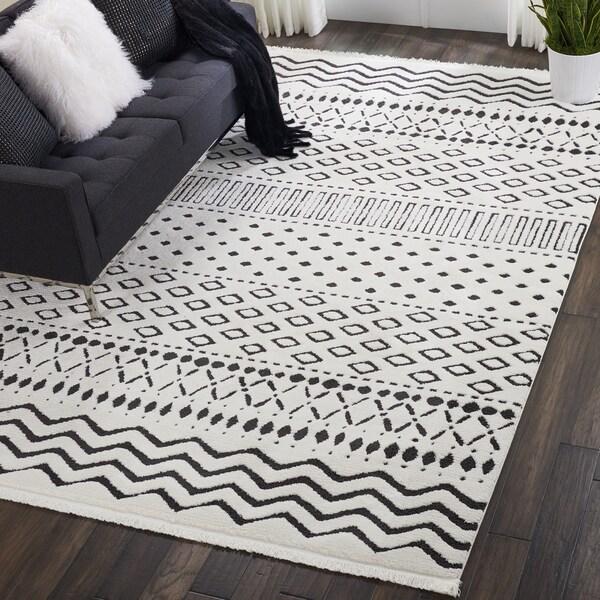 Black And White Tassel Rug: Shop Nourison Kamala Moroccan White/Black Fringe Rug